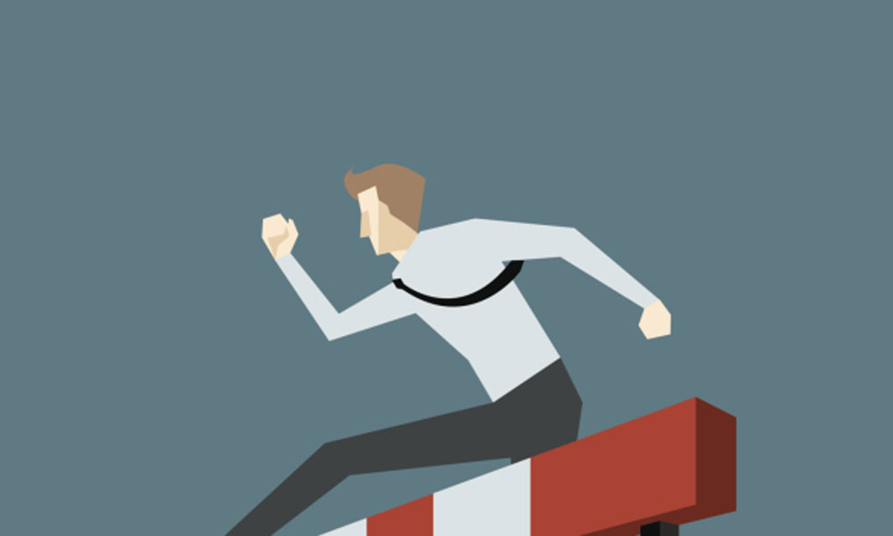 are you biggest obstacle - man jumping over hurdle