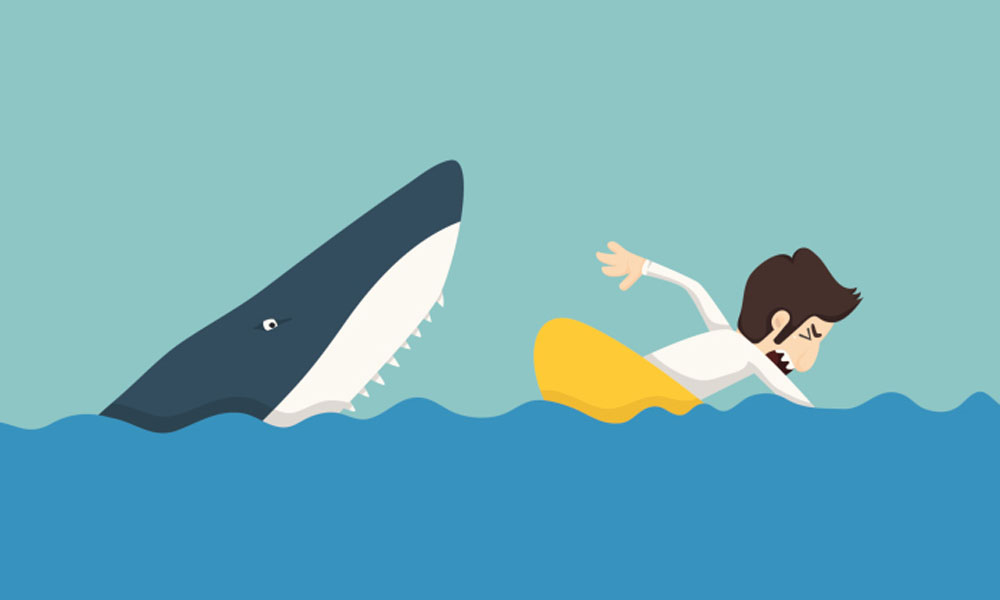 can small business owners trust alt lenders - cartoon shark chasing man in water
