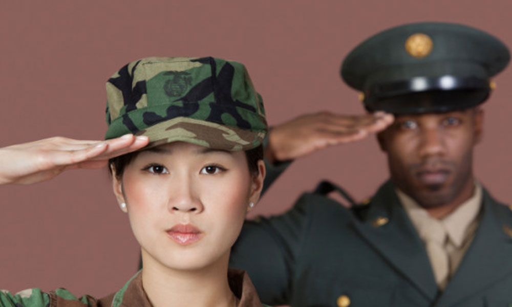 do you have to pay for military leave - female cadet in fatigues and male in military dress saluting