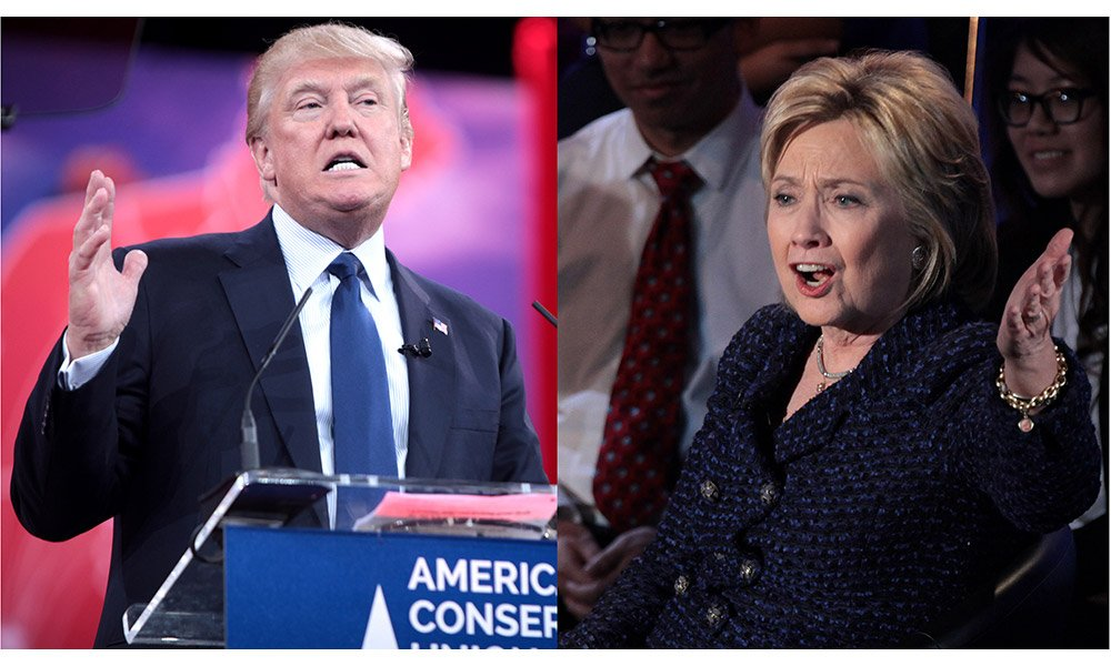 hillary vs trump - Hillary Clinton and Donald Trump giving speeches to supporters