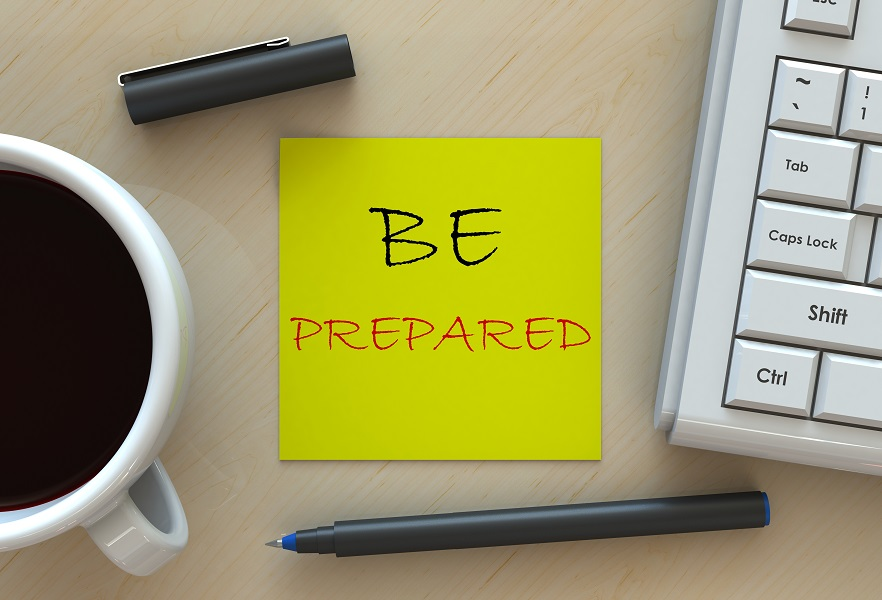 natural disaster header - desktop with keyword and coffee with a note that says be prepared