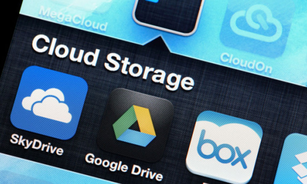 small business owners favorite tech tools - phone screen with Google Drive and Sky Drive Icons