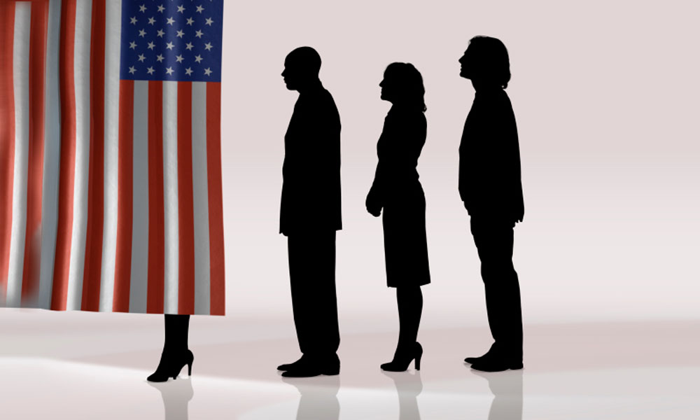small business owners react to an election year - an American flag with dark shadows of people
