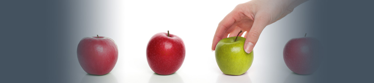 Compare Payroll Header - 4 different colored apples